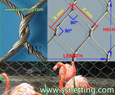 Stainless steel cable netting, cable mesh netting, wire rope cable netting- stainless steel zoo mesh