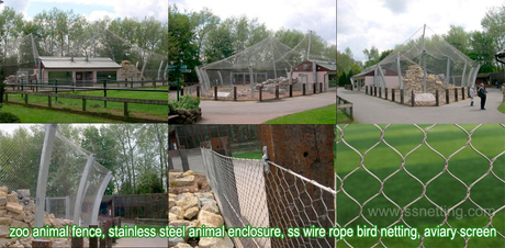 zoo animal fence, stainless steel animal enclosure, ss wire rope bird netting, aviary screen.jpg
