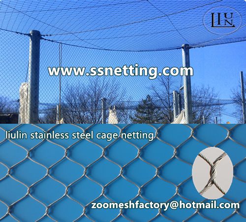Stainless steel wire rope cage netting| stainless steel wire rope woven mesh| stainless steel aviary netting --- liulin handworen metal mesh