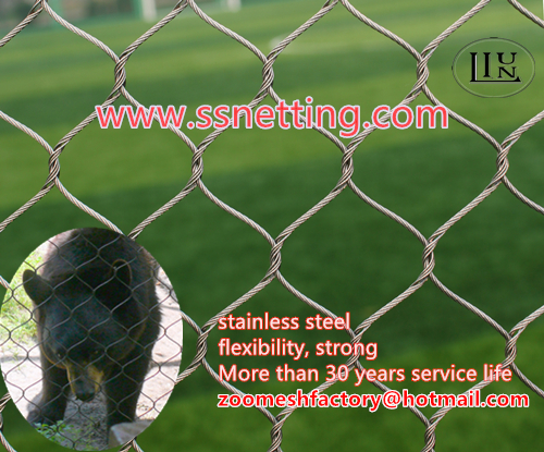Wire cable animal cage mesh for sale, stainless steel hand woven mesh for animal fence, animal enclosure manufacturer