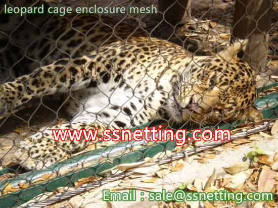 Zoo leopard fence mesh, steel wire rope leopard cage net, cheetah cage enclosure