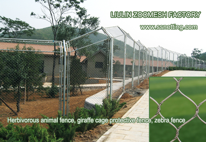 Wire rope safety net in the zoo for sale, zoo fence supplier, animal cage enclosure mesh manufacturer