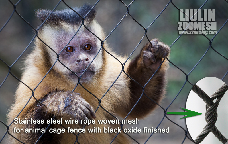 Stainless steel wire rope woven mesh for animal cage fence with black oxide finished