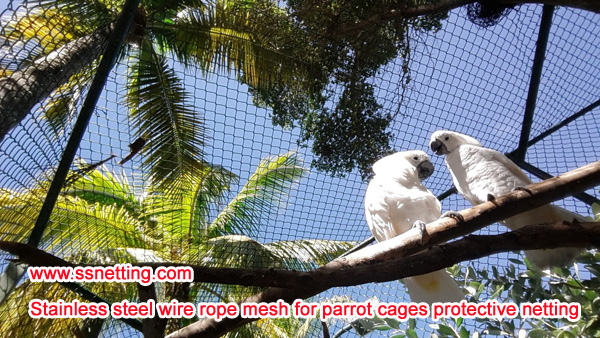 stainless steel wire rope mesh for parrot cages protective netting.