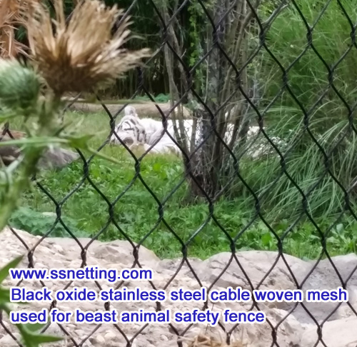 black stainless steel cable woven mesh for beast animal safety fence