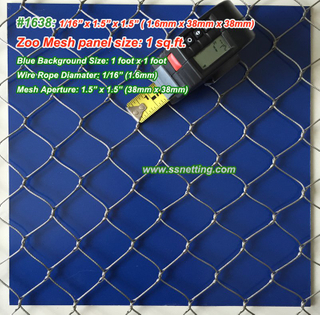 "Stainless Steel Mesh 1/16"", 1.5"" X 1.5"", ( 1.6mm, 38mm X 38mm)"