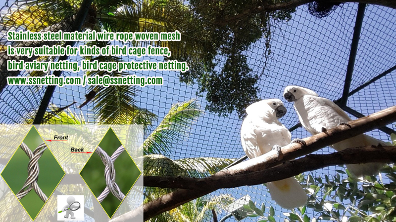 Stainless steel material wire rope woven mesh is very suitable for kinds of bird cage fence