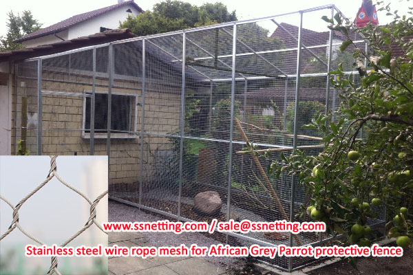 Stainless steel wire rope mesh for African Grey Parrot protective fence