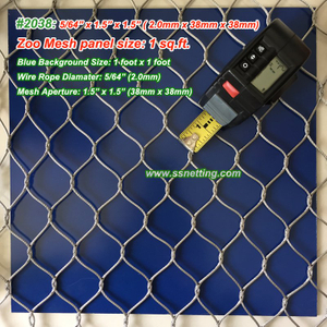 "Stainless Steel Wire Mesh 5/64"", 1.5"" X 1.5"", ( 2.0mm, 38mm X 38mm)"