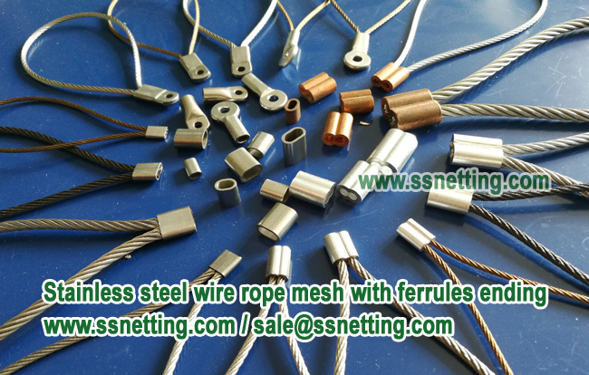 Stainless steel wire rope mesh with ferrules ending