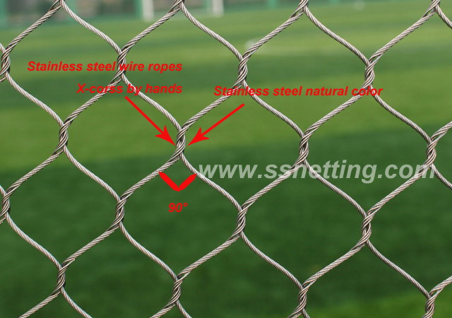 "Stainless Steel Cable Mesh 3/64"", 1.2"" X 1.2"", ( 1.2mm, 30mm X 30mm )"