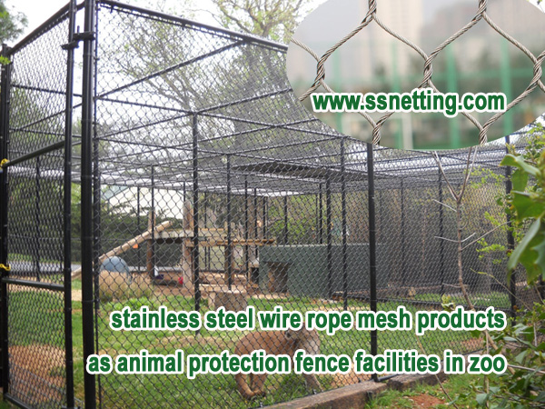 stainless steel wire rope mesh products as animal protection fence facilities in zoo