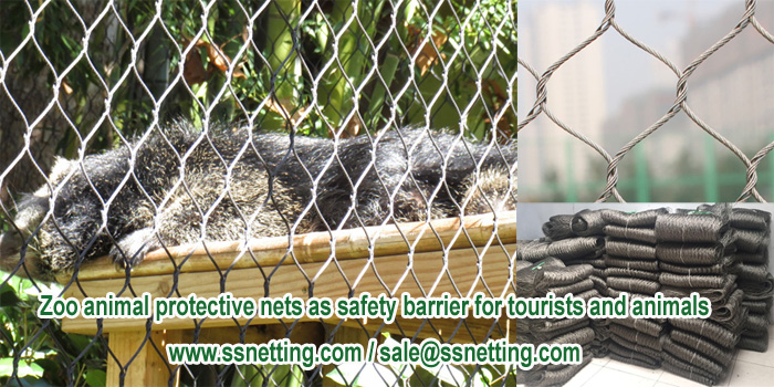 Zoo animal protective nets as safety barrier for tourists and animals