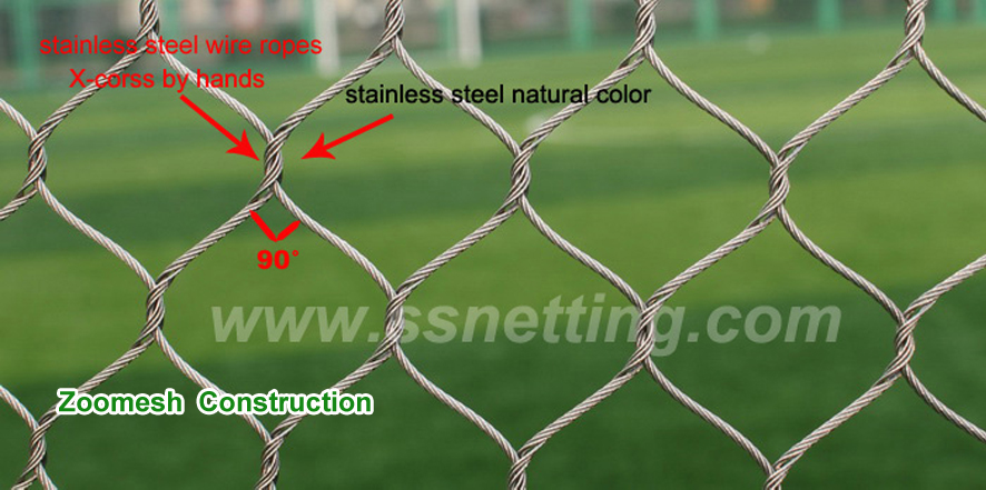 Stainless steel wire rope mesh for zoo cage design and construction