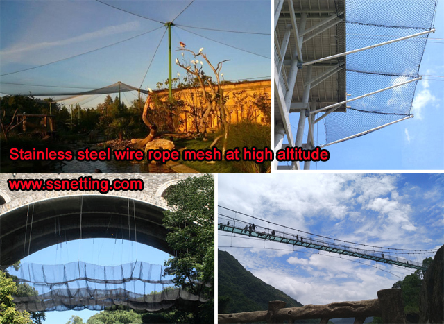 Stainless steel wire rope mesh at high altitude